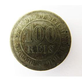 Moeda 100 Réis 1876 Fundo Liso Império Mbc Rara