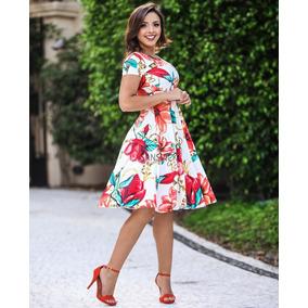 Vestido Estampado Floral Rodado Godê Moda Evangélica Flores