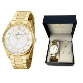 Relógio Champion Feminino Cn25038w + Colar E Brincos