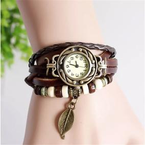 Relógios Feminino Pulseira Em Couro Vintage Pingente Retro