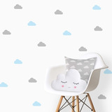 Adesivos Decorativos, Nuvens 10x5cm 100 Unidades Nuvem