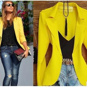 5baaf63cc41fe Blazer Sobretudo Casacos Moda Inverno Femininos - Casacos Amarelo no ...