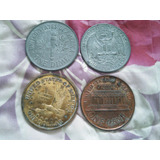 Vendo 4 Monedas Antiguas De One Cent Usa