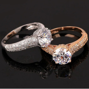 Hermoso Anillo En Oro 18 Kts Cristal Corte Diamante Mujer!!!