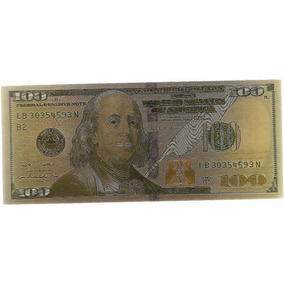 100 Dólares - Dourada - Fantasia - Folheada A Ouro