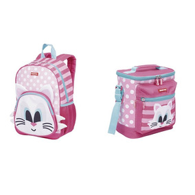 Kit Mochila + Lancheira Infantil Sestini Kids Cat