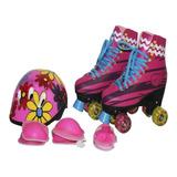 Patins Roller Sou Luna 4 Rodas Com Luzes+capacete+ Brinde