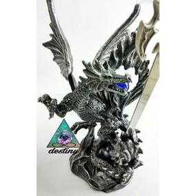 Dragon Nordico Con Espada En Acero Inoxidable