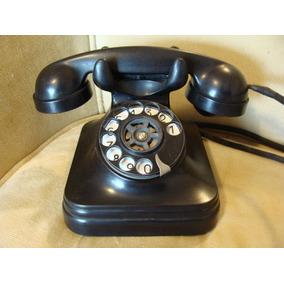 Telefone Fixo Antigo De Mesa Com Disco Baquelite Fio De Pano
