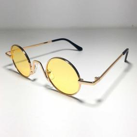 03ca3c3b76c47 Óculos De Sol Retro Oval Amarelo Vintage Anos 90