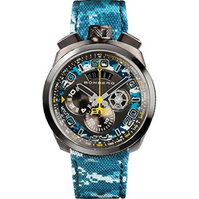 Bomberg Mens Bolt 68 45mm Multicolor Leather Band Ip Steel C