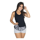 Kit 2 Blusa Regata Cavada Strong Feminina Fitness Malhar 268