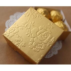 150 Caixinhas Bem Casado Dourada Sem Fita (modelo Rosas)