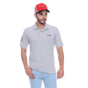 Camiseta Polo Masculina Usa Cinza Mescla Pbr 0d9e1f95caf