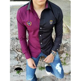 Camisa Slim Fit Vino - Negro Escudos Bordados Moon & Rain