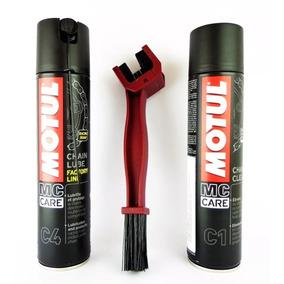 Kit Motul C1 + C4 + Escova Para Limpeza De Corrente Moto