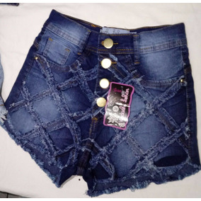 Kit Com 5 Und Short Jeans Cintura Alta Com Botão Hot Pants