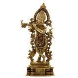 Shalinindia Hindú Estatua De Krishna Y Pavo Real