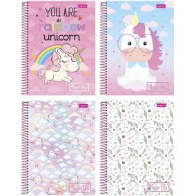 Caderno Unicórnio Kit 4 Cadernos Universitários 1 Materia