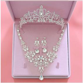 Collar Aretes Para Novias Perlas Y Cristales Xv Anos.a