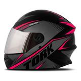 Capacete Moto P/ Mulher Fechado Rosa Com Viseira Espelhada