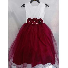 Vestido De Fiesta Para Niña Tinto-vino Con Ivory 971e0fd5bfbb