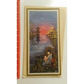 Cartão Antigo Tipo Natal Com Imagem Do Japão Nenhuma Anotaçã