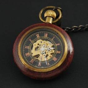 Reloj Bolsillo Mecanico Madera