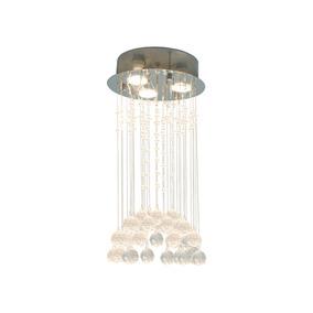 Candil Decorativo Acero Inoxidable Cromo Gz10 3 Luces 51 Cm