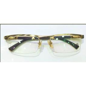 Armação Oculos Grau Cartier Dourada Sem Aro Madeira 61399812 ... 8a355b81f2