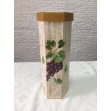 Caixa Porta Vinho Rústica Decorada Madeira Mdf Vertical
