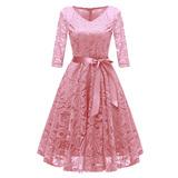 Vendimia Mujeres 1950 Croché Encaje Plisado Vestido V Del C