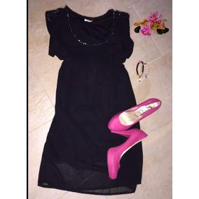 Vestido Negro De Chifon Elegante Casual Corto Talla S 20$
