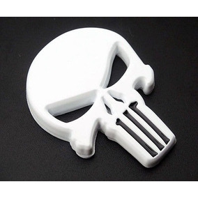 Punisher Justiceiro Adesivo 3d Moto Emblema Metal Branco