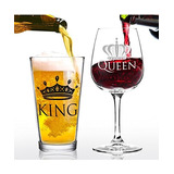 Juego De Regalo De Copa De Vino King Beer Queen: Fresca I