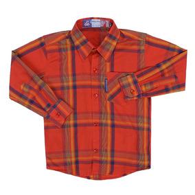 Camisa Infantil Masculina Xadrez Vermelho Rodeo Western 2259