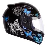 Capacete Moto Ebf New Spark Borboletas Preto Azul 56