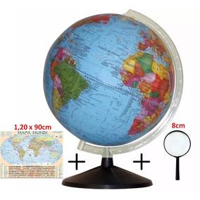 Globo Terrestre Político 30cm + Brinde ( Lupa + Mapa Mundi)