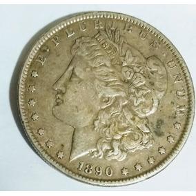 Moeda Rara De Um Dolar De 1890 Em Prata.