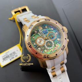 Relógio Invicta Pro Diver 24840 - Ouro 18k, Pulseira Branca,