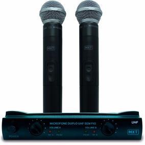 Microfone S/ Fio Profissional Duplo C/ Maleta Mxt Uhf-302