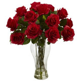 Nearly Natural 1328-rd Arreglo De Rosas Rojas Artificiales