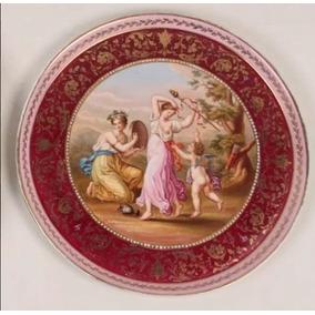 Antigo Prato De Porcelana Austríaca Vienna 36 Cm Diâmetro