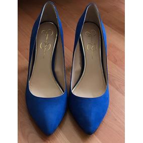 ebc951d2777e9 Jessica Simpson Tacones De Gamuza Azul 6.5