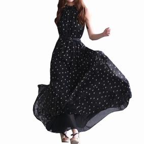 Tsuki Moda Asiatica: Vestido Maxi Fiesta Polka Dots Cinturon