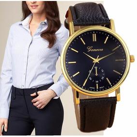 Relógio Feminino Geneva Pulseira De Couro Luxo Black