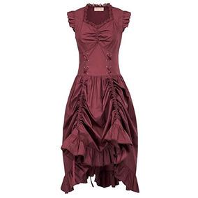 Vestido Vintage Vino Steampunk Gotico Victoriano Belle Poq