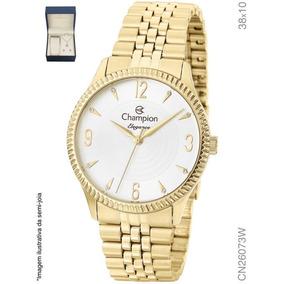 3925e963f7a Relógio Feminino Dourado Champion Cn26073w + Colar E Brinco