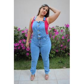 Macacão Jardineira Jeans Longo Feminino Plus Size Veste 54