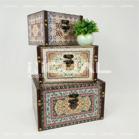 Caixa Baú Decorativa Indiana Persa Multicolor 3 Pç